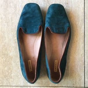 TAHARI Teal Blue Suede Clementine Flats, Size 8M